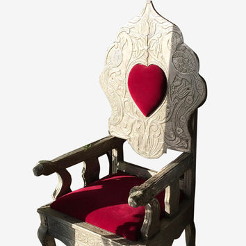 Antique Queen of Hearts Chair Red Velvet Cushion Chair - Beautiful Floral Hand Carving Furniture