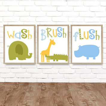 Safari Jungle Animal BATHROOM Decor, Safari Jungle Animal Canvas or Prints, Kid Child Zoo BATHROOM Pictures Wash Brush Set of 3 Artwork