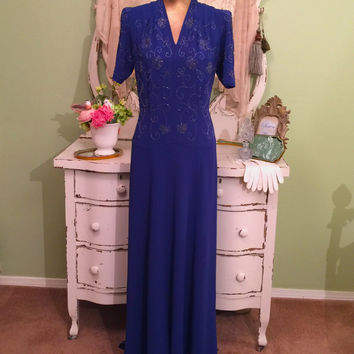 30s 40s Evening Dress, 1930s 40s Long Gown, Blue Crepe Beaded w/ Rhinestones, Silver Screen Glam, WWII Dress, High Fashion Dress, Sz L M/L