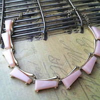 Vintage Pink Thermoset Necklace 1940's , Chunky Pink Necklace