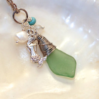 Mermaid Necklace, Sea Glass Jewelry made in Hawaii, Hawaiian Seaglass