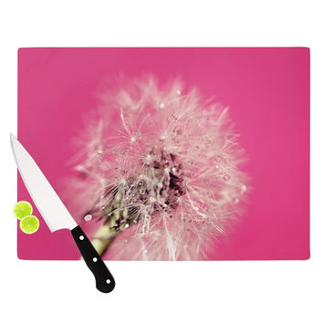 "Beth Engel ""Pink Twilight"" Magenta Dandelion Cutting Board"