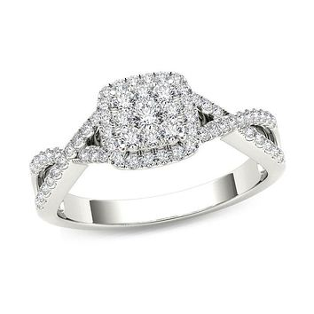 3/8 CT. T.W. Composite Diamond Square Frame Crossover Engagement Ring in 14K White Gold