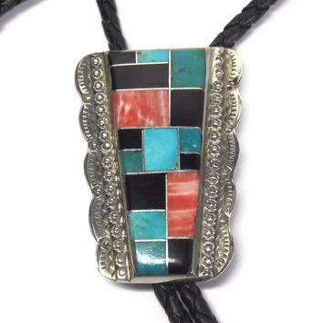 Vintage Sterling Navajo Turquoise Spiny Oyster Onyx Inlay Bolo Tie F Tom