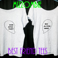 Best FRIEND shirts ZOMBIE apocalypse partners women ladies t shirts slouchy loose fit off shoulder