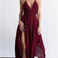 Cross-back High Slit Asymmetric Dress