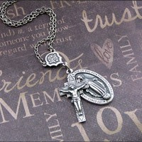 Silver Catholic Medal Necklace  Enchanted by TheEnchantedLocket