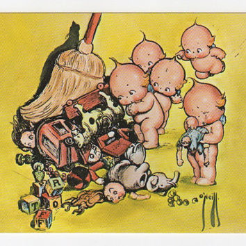 KEWPIES, KEWPIEVILLE, Vintage POSTCARD, Illustrated, Comic, Toys, Children, Babies, Cleaning, Unused, c. 1970s, Rose o'neill, k1 - 32