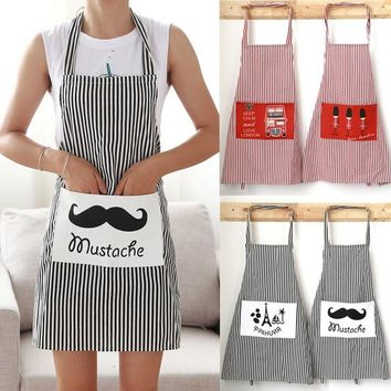 1Pcs Cotton Linen Beard Tower Bus Pattern Apron Woman Adult Bibs Home Cooking Baking Cleaning Aprons Kitchen Accessories