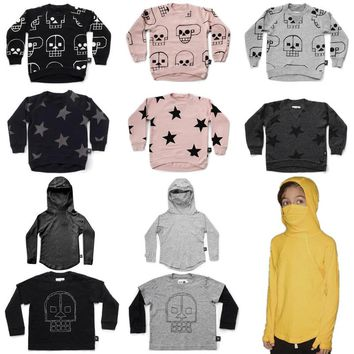 Autumn New Nununu Kids Long Sleeve T-shirts Boys Skull Robot&star Sweatshirt Baby Girl Tops Ninja Shirt Clothes 1-9Y
