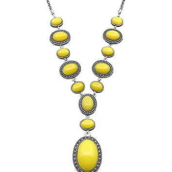 Yellow Stone Boho Statement Necklace