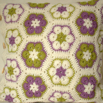 Crocheted pillow case, african flower, wool, white, green, lilac - light purple colors with buttons