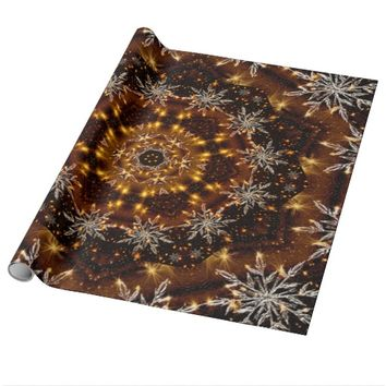 Golden Snowflakes Kaleidoscope Wrapping Paper