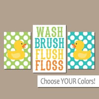 Duck BATHROOM Wall Art, CANVAS or Prints Nursery Girl Boy Child Rubber Duckie Bath Yellow Blue WASH Brush Flush Polka Dots Set of 3 Decor
