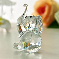 40mm Clear Elephant K9 Crystal Glass Crystal Figurines Crafts Collection Table Car Ornaments Souvenir Home Wedding Gifts Decor