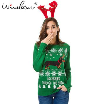 Autumn Winter Christmas Sweater Cute Dachshund Embroidery Snow Letter Women Pullovers Long Sleeve Knitting Outwear Tricot C79311