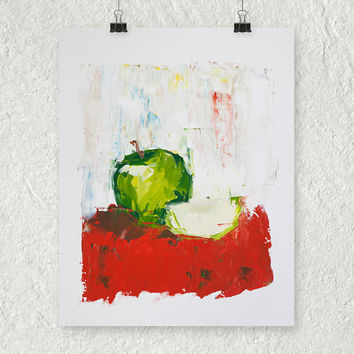 Green Apple Painting, Fruit Painting, Abstract Painting, Small Kitchen Wall Art, Fine Art Painting, Food Painting, Cute Kitchen Art