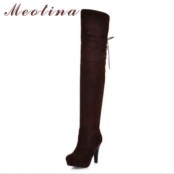 Meotina Shoes Women Boots Long Autumn Winter Thigh High Boots Lace Up Over The Knee Boots Ladies Platform High Heels Big Size 43