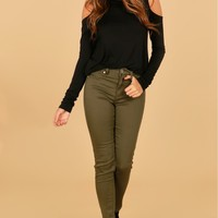 High Rise Super Skinny Jeans Olive