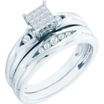 Ladies White Gold 0.25CT Princess Round Cut Diamond Engagement Bridal Set