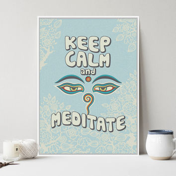 Modern Oriental Buddha Zen Motivational Typography Keep Calm Quotes A4 Art Prints Poster Wall Picture Canvas Painting Home Decor