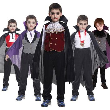 Cool Umorden Carnival Party Halloween Kids Children Count Dracula Gothic Vampire Costume Fantasia Prince Vampire Cosplay for Boy BoysAT_93_12