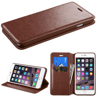 Book-Style Flip Stand Leather Wallet iPhone 6 Plus Case - Brown