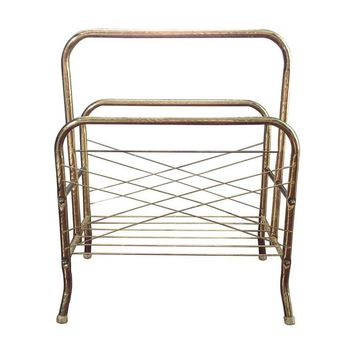 Pre-owned Vintage Brass Magazine Rack