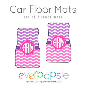Wide Chevron Duo Car Floor Mats Personalized Monogrammed