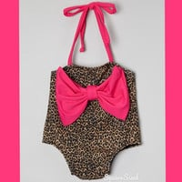 Leopard Bow Baby/Toddler Bathing Suit