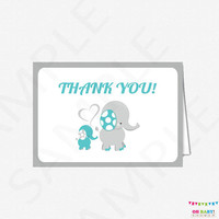 Elephant Thank You Cards, Teal and Grey Elephant Baby Shower, Elephant Thank You Baby Shower Card, Printable Baby Shower Thank Yous, ELTBG