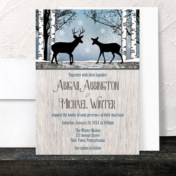 Deer Wedding Invitations Winter - Rustic Blue with Snowflakes - Woodsy Birch Trees Country Wood - Printed Invitations