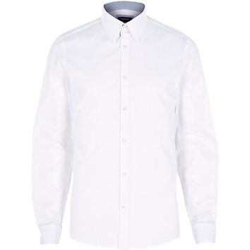 River Island MensWhite Oxford collar shirt