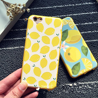 Rubber Soft TPU Lemon Design Silicone Cover Case With Dust Plug For iPhone 6/6Plus