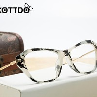 KOTTDO 2017 Fashion Women Cat Eye Glasses Frame Retro Eyeglasses Frame Brand Metal Vintage Glasses Optical Glasses Frame Oculos