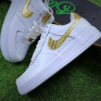Best Online Sale Nike Air Force 1 Low CR7 Gold White Sport Shoes Sneaker