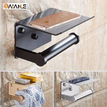 Toilet Paper Holders Space Aluminum Multi-function Bathroom Shelves with Ashtray Towel Shelf Phone Holder Bath Accessories