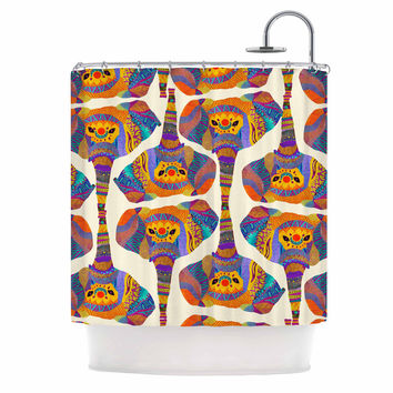 "Pom Graphic Design ""Elephant Play"" Orange Animal Print Shower Curtain"
