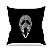 "BarmalisiRTB ""The Scream Tree"" Black White Throw Pillow"