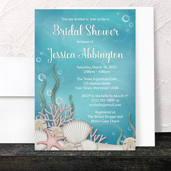 Under the Sea Bridal Shower Invitations - Whimsical Underwater or Aquarium design with Aqua Blue and Beige - Printed Invitations