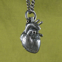 "Sterling Silver Black Heart Anatomical Heart Necklace - Oxidized .925 Anatomical Heart Pendant on 24"" Gunmetal Chain - Black Heart"