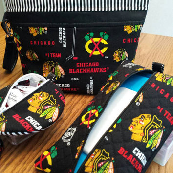 Blackhawks Baby Diaper Clutch Diaper Bag Wristlet, Quilted Baby Wipes Case,  Pacifier Pouch Pod & Baby Bib Ultimate Baby Shower Gift