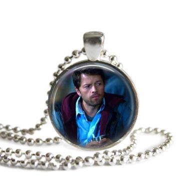 Castiel 1 Inch Silver Plated Picture Pendant Necklace Handmade