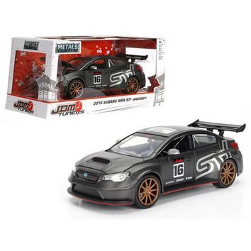 2016 Subaru WRX STI Widebody Matt Grey #16 JDM Tuners 1/24 Diecast Model Car  by Jada