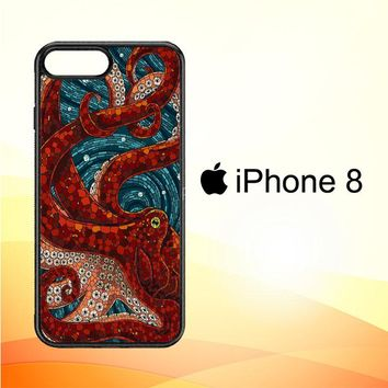 Kraken Octopus Stained Glass L1586 iPhone 8 Case