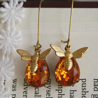 Honey Bee Earrings. Golden Amber Vintage Czech Glass Jewel Brass Bee Charm Earrings. Brass Kidney Ear wire Earrings.