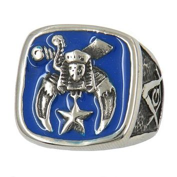Shriner Blue Silver Masonic Ring