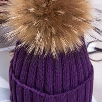 Big Chill Removable Fur Pompom Rib Cuff Beanie Hat - 5 Colors Available