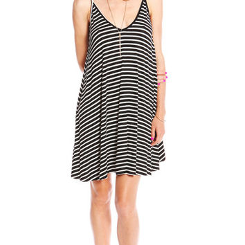 BACKLESS V NECK STRIPED DRESS - BLACK | PUBLIK | Women's Clothing & Accessories