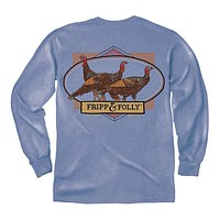 Wild Turkeys Long Sleeve Tee in Marine Blue by Fripp & Folly - FINAL SALE